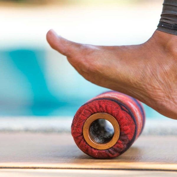 Foot rolling with Om Roller 3-inch roller